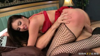 This hot milf in red loves to be tongue, finger, and dick fucked