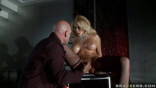 Stripper madison ivy with huge oiled up tits makes man happy in the dark. adorably sexy busty blonde in black stockings and shoes gets her mouth fucked silly after pussy eating.