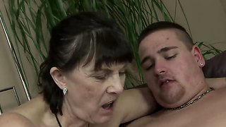 Crazy granny margo t. gets a young cock and sucks it like a crazy bitch
