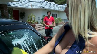 Fascinating blonde with marvelous big tits washes the car and seduces her neighbor