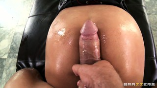 Her body trembles with delight as she sticks that cock in her ass and rides it with joy