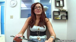 Isis taylor is one hot latina brunette. she shows it all in the backroom. busty brown haired lady takes off her jeans and gets her pussy finger fucked from behind with her pink thong on.