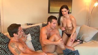 Good looking milf india summer takes two dicks