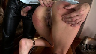 Naughty asian babe gets her ass spanked and fucked by her master