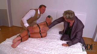 Tied up naked blonde kathia nobili gets her perfect body explored by two curious guys. they spank her perfect bubble ass and fuck her asshole with dildo for a start. watch blonde get used with no mercy.