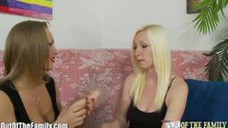 Blonde mother and daughter cock sucking lesson