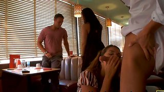 Beautiful babes allie haze and her friend fucked in a bar