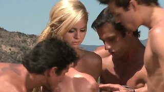 Jessie rogers shows her oral skills to three men