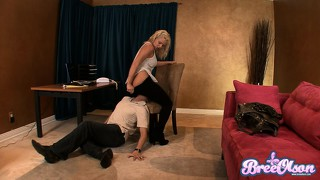 Mean blonde tart dominates her man and makes him into a bitch
