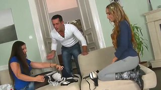 Energetic girls daphnee lecerf and leyla black dress sexy lingerie and tease renato
