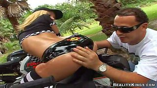 Bootylicious blonde bombshell jada stevens with stunning body in tight hot pants and stockings on black and white strips gets her ass oiled while sitting on racing bike and teases outdoor