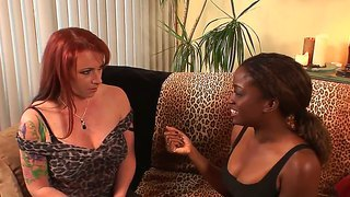 Two attractive and seductive redhead and ebony pornstars kylie ireland and monique play