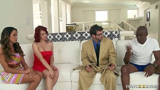 Ariella ferrera and sarah blake are sex obsessed milfs that love interracial sex parties like this one. well hung black man and his busty wife love swinger orgy so fucking much!