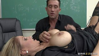 Blonde and heavy chested teacher julia ann in provocative stockings and lingerie gets his hands really busy with playing with billy glide's hard bazooka in the classroom on the desk