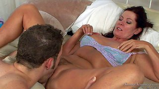 Magdalene st michaels is s sex starved mature woman with always wet eager hairy pussy, she spreads her legs for young married guy and gets her slit tongue fucked. he licks her bush with enthusiasm.