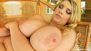 Busty blonde katrin toys her pussy and slams it in and out fast