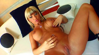 Young looking smoking hot blonde bitch sandra with big firm fake hooters and pierced nipple gets her tight perfectly shaped ass fucked hard missionary position in point of view