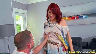 Young adorable redhead goddess in blue hot pants gets naughty at her first interview and reveals her tight ass and nice natural boobs to dirty dude in his office