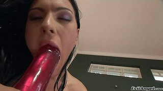 Raven haired seductress honey demon spreads her incredibly sexy long legs to sticks red dildo deep in her fuck hole. she plays with red dildo all scene long. this doll in high heels goes crazy about pussy dildoing.