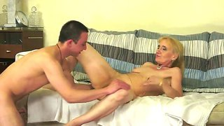 Slutty horny granny has the best time in her life as she gets banged by a young man