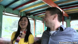 Asian amateur meets a new guy on the bus and goes to his place for a blowjob