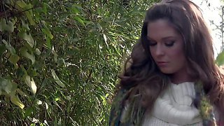 Adrienne manning is a flirtatious beauty with long wavy brown hair. lovely girl with perky tits and nicely shaved pussy does striptease outside in the garden. watch seductive adult model strip.
