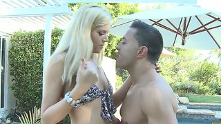 Spoiled blonde darcy tyler fucks the pool boy outdoors