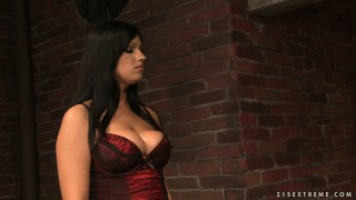 Brunette in lingerie gets tied to a wall and gets her tits abused