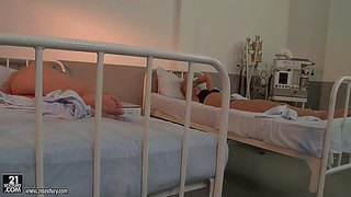 Pretty blonde hottie kathia nobili with long lets and firm ass in tight black dress and cougar mandy bright with huge tits dominate over two babes in abandoned hospital