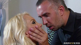 Hot and arousing blonde babe aaliyah love shows up at keiran lee's apartment in her sexy black lingerie and high heel boots and gets her shaved slit licked and rammed hard