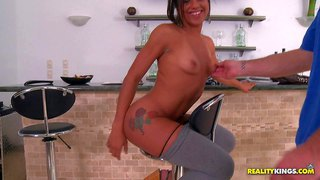Jazmin is a latina newbie who is proud of her well shaped bubble butt. she is ready to show it all and play with his dick in front to the camera. guy spreads her buttocks and touches her small tanlined tits before fucking her latin mouth.