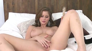 Flawless queen emily addison with grandiose natural boobs and beautiful eyes rubs herself with a dildo