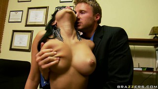 He licks on those nice big boobs and eats cunt before she starts sucking