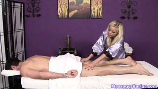 Hot busty blonde knows just what to do when his cock pops up during the massage