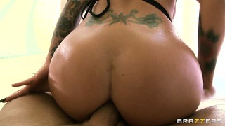 Busty, tattooed brunette christy gets her ass drilled and goes ass to mouth