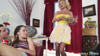 Busty blonde mom puts on a show for the kids and starts groping