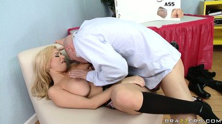 Blonde in plaid skirt gets her hairless pussy licked and sucked