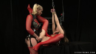 Mistress kathia's bound slavegirl withstands a rough fucking with a strap-on