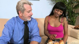 Ebony stepdaughter welcomes new dad with sexy big boner sucking