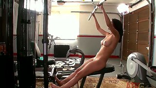 Busty dillion harper practicing sports in the gym being completely naked