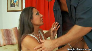 Lovely brunette amy fisher with perfect fake tits and clean pussy has unforgettable sex with young guy. he plays with her boobs and fucks her face before she gets her snatch eaten out.