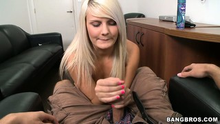 Attractive teen blonde with cute natural tits displays her great handjob skills