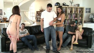 Cece stone, tegan summers and giselle leon quickly undress to fuck their husbands and friends