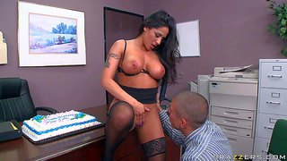 Busty lady boss jenaveve jolie gets her ass and pussy licked by her hot employee on her birthday.he warms her up with his tongue before she takes his cock. he loves to play with her massive melons.