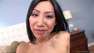 Dark haired and playful asian girl tia ling with big firm breasts enjoys in playing with her shaved taco on the bed and trying out her lingerie as well for the cam