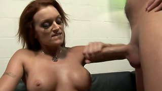 Busty monica mayhem makes two stud cum on her face