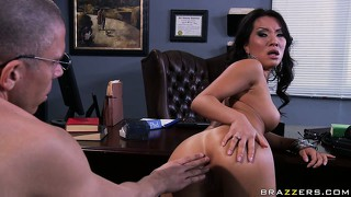 Blowing dr. blue was just the beginning for this asian babe as she gets nailed on the desk