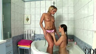 Superb hot lesbian action as eve angel and kathia nobili get together in the bathroom.