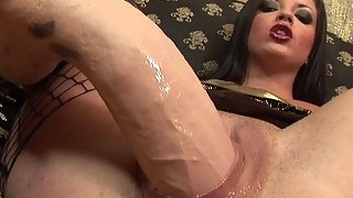 Luscious brunette sweety groans during wild anal s