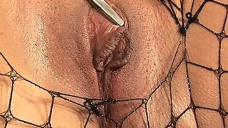 Fucking her oiled up big taco pussy